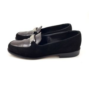 90's BRIGHTON black suede and leather loafers